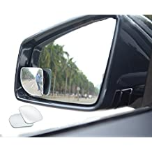Meirun 360° Rotatable Blind Spot Mirror,Adjustabe Frameless Fan Shap Wide Angle Rear View Mirror HD Glass Convex Back Mirror for Car SUV Universal Fit Stick On Lens