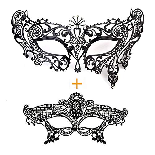 Masquerade Mask for Women Shiny Metal Rhinestone Mask Party Porm Ball Mask Free Lace Mask (Peacock Black) ()