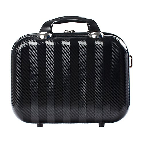 """Makeup Cosmetic Case Box, SAVORI 14"""" Hard Shell Cosmetic Suitcase Makeup Travel Case with Zipper Dividers for Makeup Brushes Toiletry Jewelry Organizer - Black from SAVORI"""