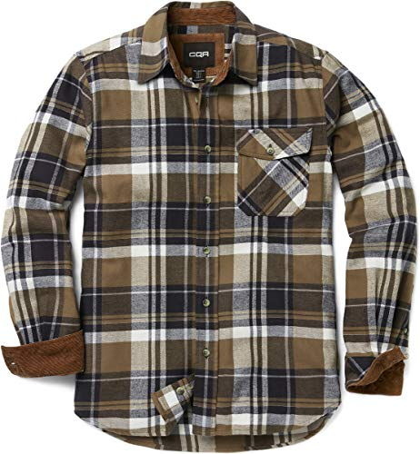 CQR CQ-HOF110-SGE_Small Men's Flannel Long Sleeved Button-Up Plaid 100% Cotton Brushed Shirt HOF110 ()