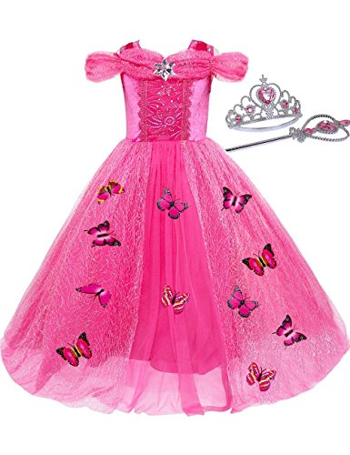 JYH Girls' New Cinderella Princess Sleeveless Dress Butterfly Party Costumes Watermelon red 2-3T