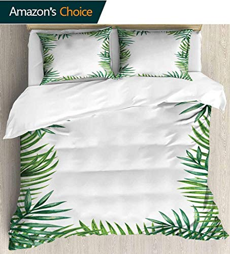 (shirlyhome Green Leaf Print Comforter Quilt Set,Frame with Fresh Leaves Botanical Natural Artwork Environment Forest with 1 Pillowcase for Kids Bedding 68