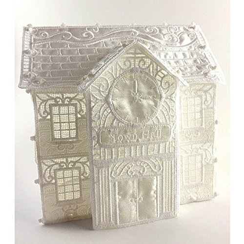 Christmas Village Handmade Town Hall in Free Standing Lace (FSL) Embroidery Collectible -