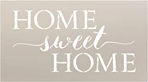"Home Sweet Home Word Stencil by StudioR12 | Charming Rustic - Reusable Mylar Template | Painting, Chalk, Mixed Media | DIY Home Decor - STCL1749_1 | Select Size | (11"" x 6"")"