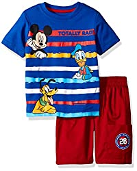 Disney Toddler Boys' 2 Piece Mickey Mouse T-Shirt and Twill Short Set, Blue, 2t