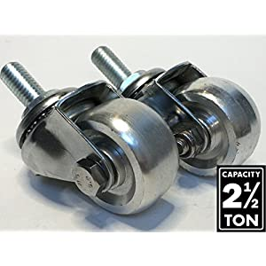 Aluminum Racing Floor Jack Casters for 2-1/2 Ton (2 Piece Set)