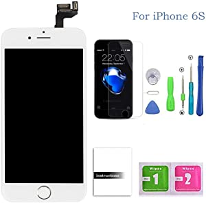 Compatible for iPhone 6s Screen Replacement White,LCD Display & Touch Screen Digitizer Replacement + Home Button+Front Camera+Earpiece Pre-Assembled +Screen Protector Free Repair Tools(4.7'')