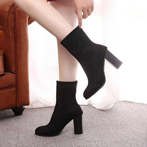 Boots Heels Ankle High Warm Martin Fashion Faux Black Buckle Women New NEARTIME Boots 43 Ladies Boots Women Shoes vxqOnwzf