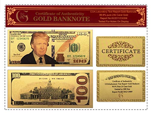 UNiQ Designs 100 President Donald Trump Authentic 24kt Gold Plated Commemorative Bank Note Collectors Item - Donald Trump Money Items - Monedas De Oro Trump Money - Cool Novelty Memorabilia