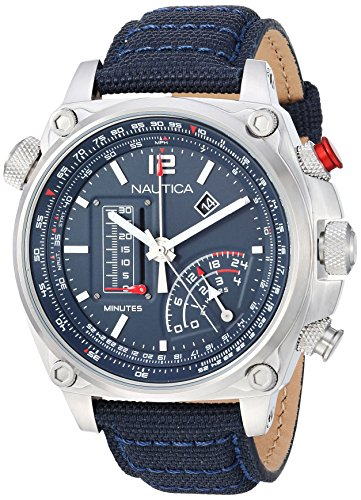 Nautica Men's 'MILLROCK COLLECTION' Quartz Stainless Steel and Nylon Casual Watch, Color:Blue (Model: NAPMLR002)