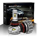 BROVIEW M5 Canbus LED Headlights Anti Flicker Conversion Kit Bulbs - 6000LM 9007 HB5 3000K 4500K 6500K 8000K 10000K Cree Chip- PnP - LED Headlamp Replaces Halogen & HID - 2 Yr Warranty - (2pcs/set)