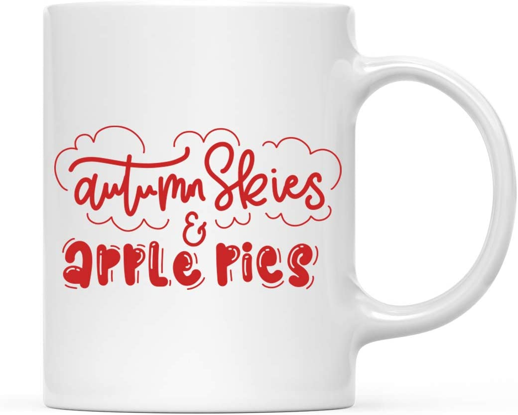 Andaz Press Fall Autumn Season 11oz. Coffee Mug Gift, Autumn Skies & Apple Pies, 1-Pack, Themed Birthday Gift Ideas for Hostess Friends Coworkers