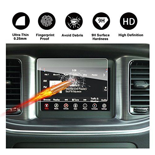 2011-2018 Dodge Charger Uconnect Touch Screen Car Display Navigation Screen Protector, RUIYA HD Clear TEMPERED GLASS Car In-Dash Screen Protective Film (7-Inch) by RUIYA