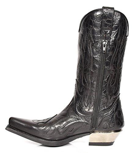 New Rock Cowboy Stivali in Pelle Nero Fiamma Design Scarpe a Punta Tacco Western