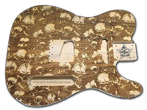 - Telecaster Electric Guitar Body UNFINISHED Laser Etched Designs (Skulls, Swamp Ash)