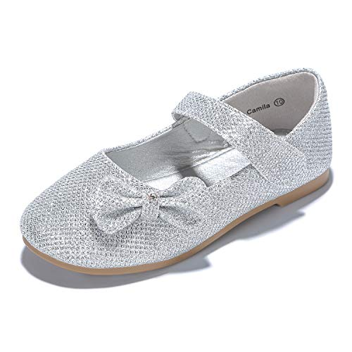 PANDANINJIA Toddler/Little Kids Camila Princess Glitter Silver Ballet Flower Mary Jane Girls Flats Dress Shoes (Wedding Dress Shoes Flats)