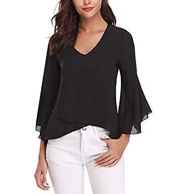 e14f14df0b1f07 JMETRIE Women Summer V-Neck Bell Sleeve Solid Chiffon Tunic Tops Blouse  Shirt Black