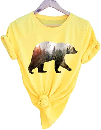 YUFAA Camiseta de Manga Corta y Blusa de algodón con Estampado Mama Bear para Mujer Camisa de Entrenamiento (Color : Amarillo, Size : 4XL): Amazon.es: Ropa y accesorios