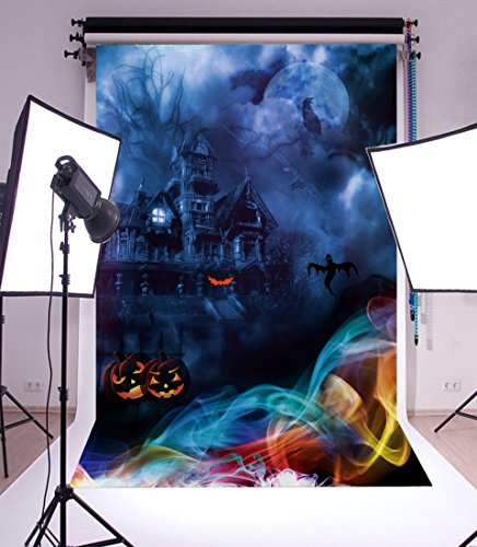 Laeacco Vinyl Backdrop 5x7FT Photography Background The Horrible Night Haunted House Ghost and Moon Pumpkin Lantern Color Smog Happy Halloween Children Portraits 1.5(W) x2.2(H) m Photo Studio -