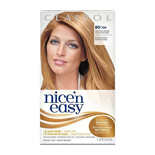 Clairol Nice 'n Easy Hair Color, Natural Medium Golden Blonde (104), 2 pk