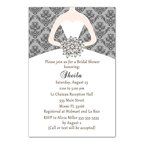 Pink Damask Bridal Shower (30 Invitations Grey Vintage Damask Bouquet Bride Design Bridal Shower Party Personalized Cards + 30 White Envelopes)
