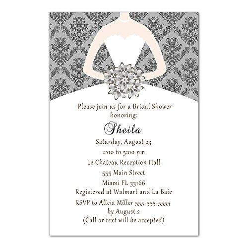 Bridal Damask Shower Pink (30 Invitations Grey Vintage Damask Bouquet Bride Design Bridal Shower Party Personalized Cards + 30 White Envelopes)