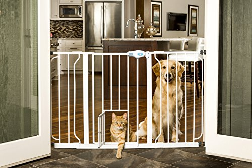 Carlson Pet Products 0934PW/0932PW Extra Wide Walk-Thru Pet Gate with Pet Door White, 29-34Wx30H in