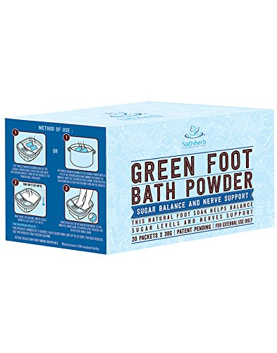 Green Foot bath powder for Sugar Balance and Nerve Support, Healthy Life Style,Natural Raw Herb Super Food Supplement … (1) by Native Herbal (Image #2)