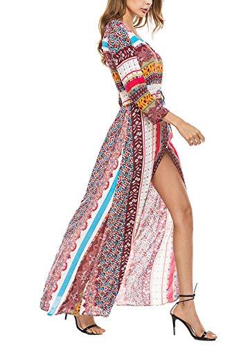 Boho con Abierto Moderno Vacaciones Playa Cuello Dobladillo Vestido Vestido Floral Feoya para V para Verano Rojo Mujer Casual Largo Mangas Largas wT7WaXFqf