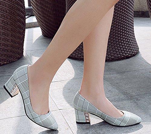 Easemax Femme Mode Carreaux Chaussure Pointue Talon Moyen Club Escarpins Vert uXB0Kn7A