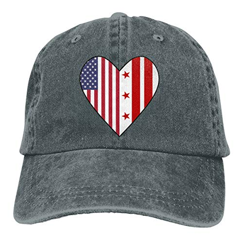 Men's Women's Adjustable Baseball Cap Half Washington DC Flag Half USA Flag Love Heart Visor Hat Deep Heather