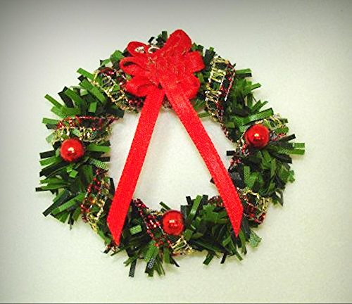Deluxe Wreath - Dollhouse Deluxe Christmas Wreath with Sleigh Decoration 1:12 Scale Miniatures - My Mini Garden Dollhouse Accessories for Outdoor or House Decor