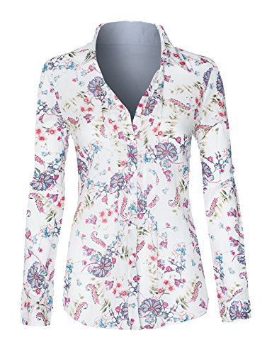 Hot Rolled Finish (HOT FROM HOLLYWOOD Women's Floral Rolled Sleeve Button Up V Neck High Low Loose Business Casual Top)