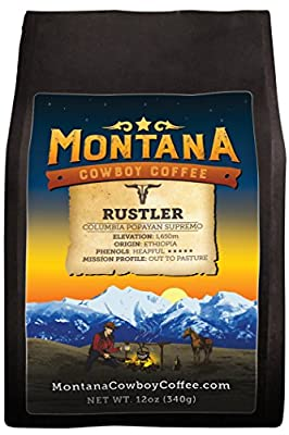 Montana Cowboy Coffee - RUSTLER, Whole Bean 12oz