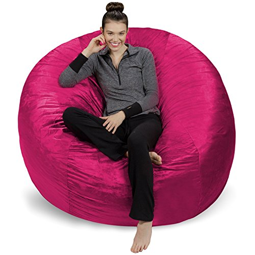 Sofa Sack - Plush Ultra Soft Bean Bags Chairs for Kids, Teens, Adults - Memory Foam Beanless Bag Chair with Microsuede Cover - Foam Filled Furniture for Dorm Room - Magenta 6' ()