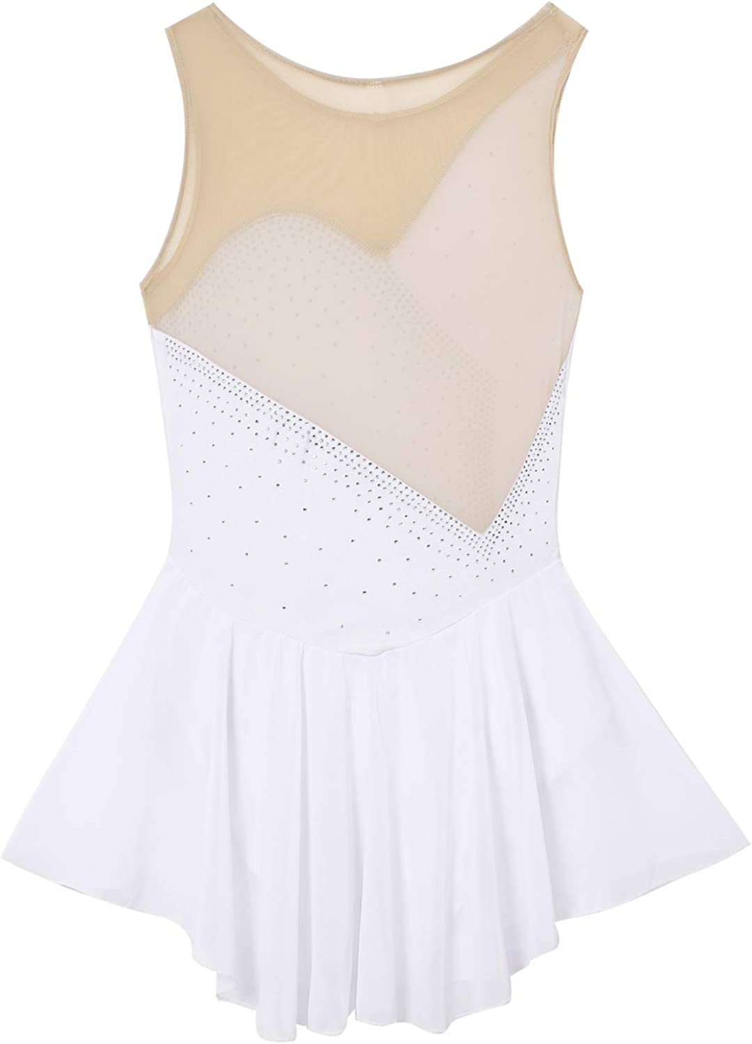 iixpin Womens Mesh Spliced Bodice Figure Ice Skating Roller Skating Ballet Dance Leotard Chiffon Dress