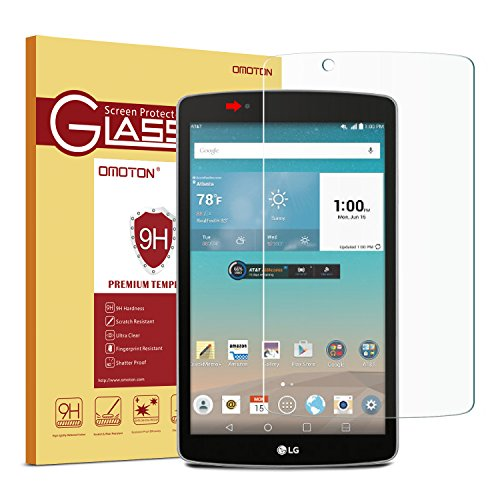 LG G Pad F 8.0 Glass Screen Protector, ONLY for LG G Pad F 8.0 (Front Camera on the Left Side) OMOTON Tempered Glass [9H Hardness] [Crystal Clear] [Scratch-Resistant] [Bubble - Mall Water Front