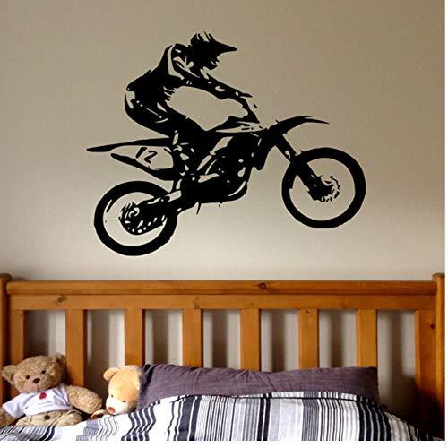 WYTTT Motocross Wall Decal Boy-Dirt Bicycle Wall Decal Custom Children Room Nursery Boy Waterproof Decoration 52X42Cm Wall Sticker