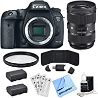 Canon EOS 7D Mark II 20.2MP HD 1080p Digital SLR Camera - Body Only with Lens Power Bundle, Includes, Sigma 24-35mm Standard-Zoom Lens, Multicoated UV Protective Filter & 2x LP-E6 Batteries