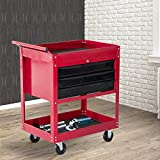 New MTN-G Rolling 3 Drawer Utility Tool Cart Tray Storage Workshop Garage Shelf w/ Locks-red