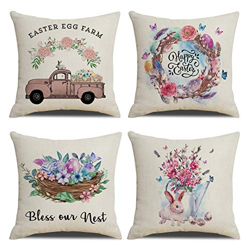 """KACOPOL Spring Decorations Pillow Covers Watercolor Happy Easter Rabbit with Eggs Bless Our Nest Home Decor Cotton Linen Throw Pillow Case Cushion Cover 18"""" x 18"""" Set of 4 (Watercolor)"""