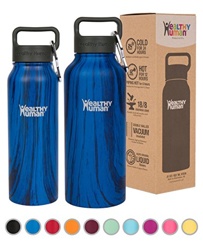 Healthy Human Stainless Steel Insulated Travel Sports Water Bottle Thermos - Leak Proof - No Sweating, Keeps Your Drink Hot & Cold - Midnight Oak - 32 oz