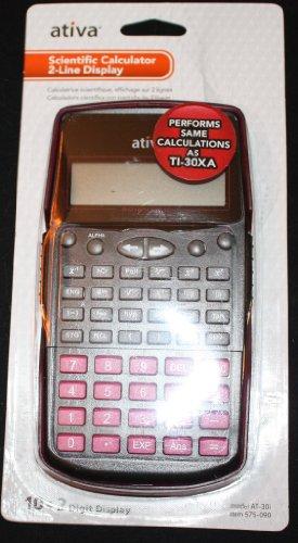Ativa Scientific Calculator 2-Line Display Pink, Black, and