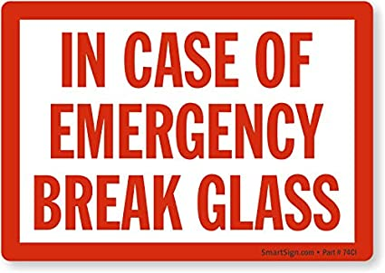 image about In Case of Emergency Break Glass Printable named Inside Circumstance Of Unexpected emergency Crack Gl, Laminated Vinyl Labels, 5\