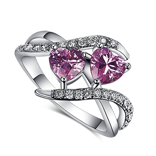 Psiroy 925 Sterling Silver Created Pink Topaz Filled Bypass Band Double Heart Promise Ring Size 8