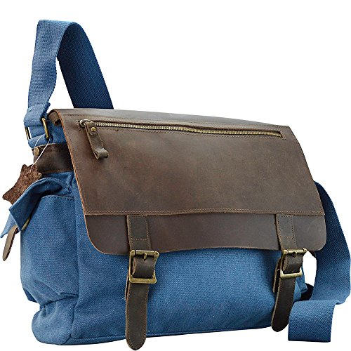 R & R Collections Canvas Messenger Bag With Leather On Flap (Blue) ()