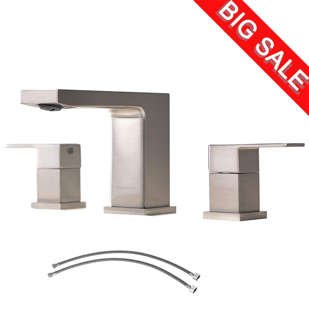 VCCUCINE Best Commercial 3 Holes Two Handles Lavatory Vanity Sink Widespread Brushed Nickel Bathroom Faucet, Bathroom Sink Faucet With Hoses by VCCUCINE