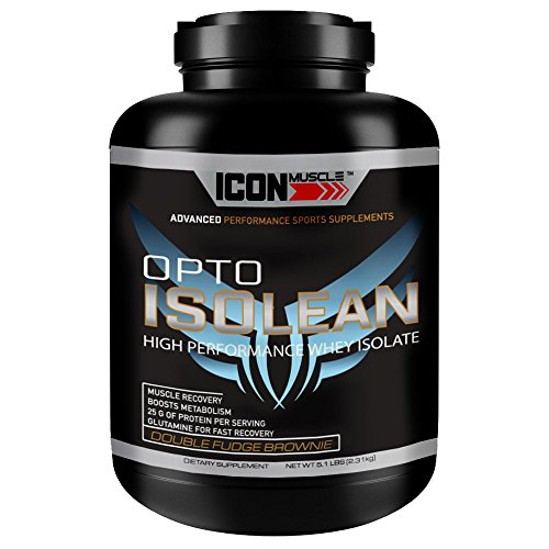 - Icon Muscle Isolean Whey Protien Isolate, Double Fudge Brownie Chocolate, 5 Pound