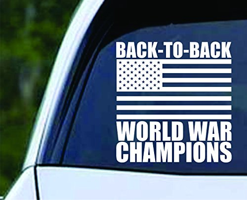 Bazinga Designs America Back to Back World War Champs Vinyl Die Cut Decal (Back To Back World War Champs Sticker)