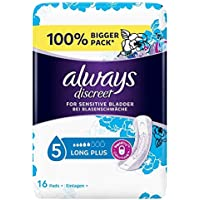 Always Discreet Sensitive Bladder Incontinence Long Plus Pads Value, 16 Count